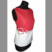 """Одежда ручной работы. Ярмарка Мастеров - ручная работа Топ-блузка """"Геометрия"""" красное и белое. Handmade."""
