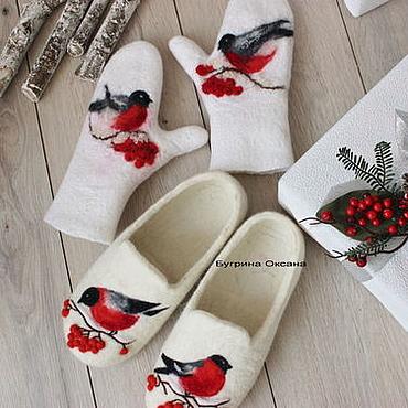 """Обувь ручной работы. Ярмарка Мастеров - ручная работа """"Снегири"""" комплект валяный. Handmade."""