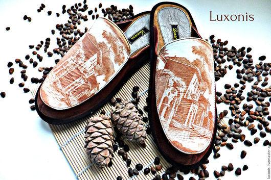 """Обувь ручной работы. Ярмарка Мастеров - ручная работа. Купить Кожаные тапочки """"Кофе с молоком"""". Handmade. Коричневый, тапочки, подарок"""