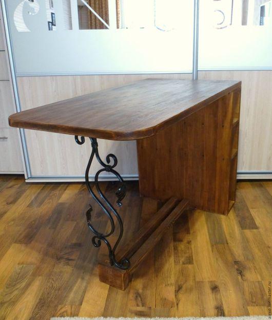 Мебель ручной работы. Ярмарка Мастеров - ручная работа. Купить Стол  деревянный с кованым элементом. Handmade. Коричневый, дачный интерьер