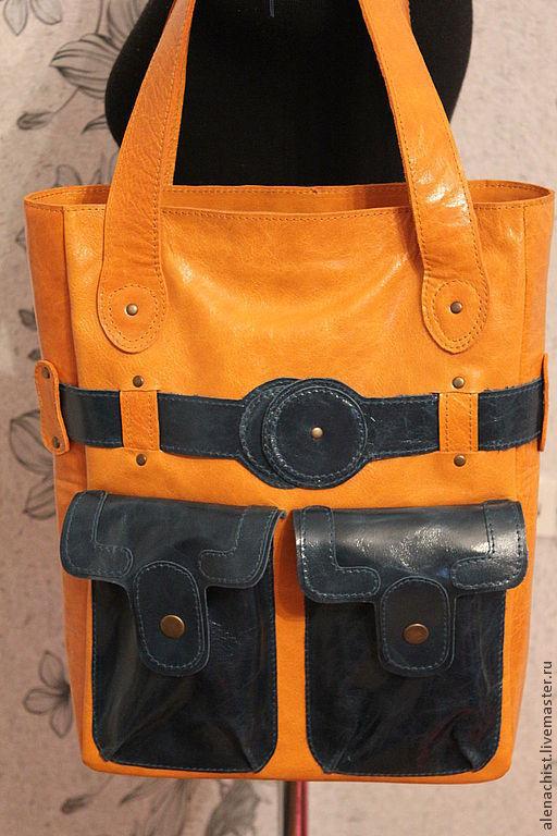 """Женские сумки ручной работы. Ярмарка Мастеров - ручная работа. Купить Кожаная сумка """"Та же форма, но..."""". Handmade. Однотонный"""