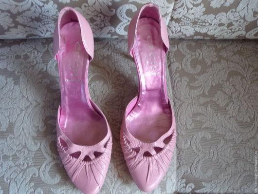 Винтажная обувь. Ярмарка Мастеров - ручная работа. Купить Туфли Розовые, Италия.. Handmade. Бледно-розовый, кожа натуральная