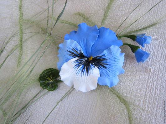 """Броши ручной работы. Ярмарка Мастеров - ручная работа. Купить Брошь """"Анютка"""" сине голубые анютины глазки. Handmade."""