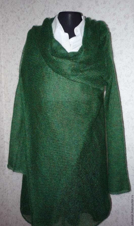 """Кофты и свитера ручной работы. Ярмарка Мастеров - ручная работа. Купить Кардиган """"Асимметрия"""". Handmade. Тёмно-зелёный, вязание на машине"""