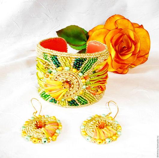 браслет на основе, нарядный браслет, солнечный комплект, комплект украшений, браслет с шибори лентой