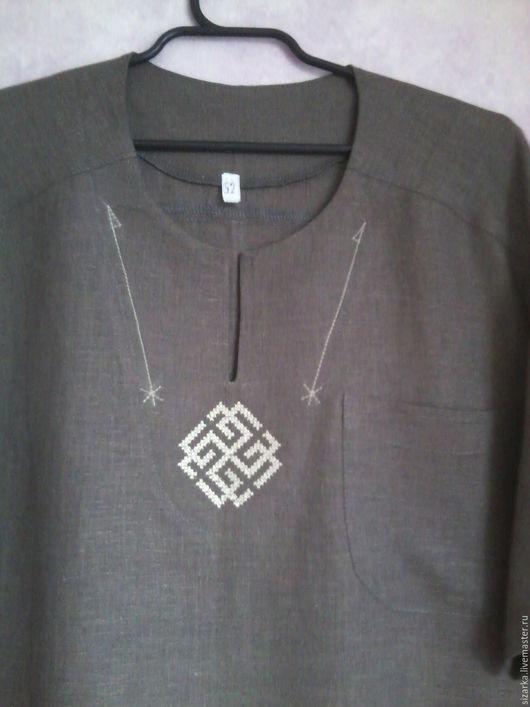 Для мужчин, ручной работы. Ярмарка Мастеров - ручная работа. Купить рубашка. Handmade. Серый, лён 100%