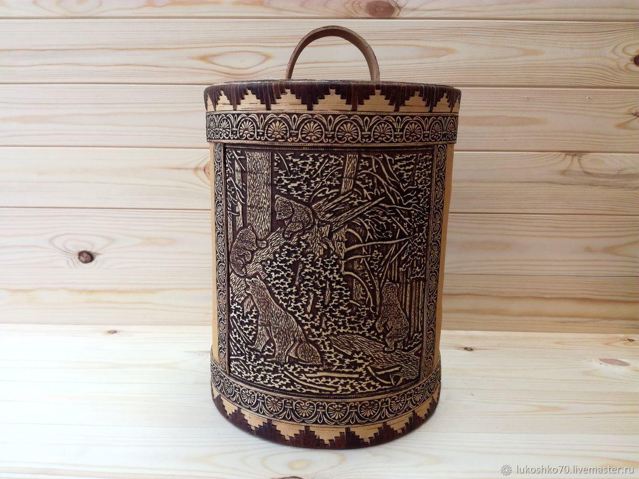 Large box of birch bark 'Bears'. Handmade gift, Jars, Tomsk,  Фото №1