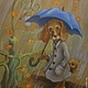 Животные ручной работы. Ярмарка Мастеров - ручная работа. Купить Дождь..Картина пастель 24 на 30см. Handmade. Коричневый, собаки