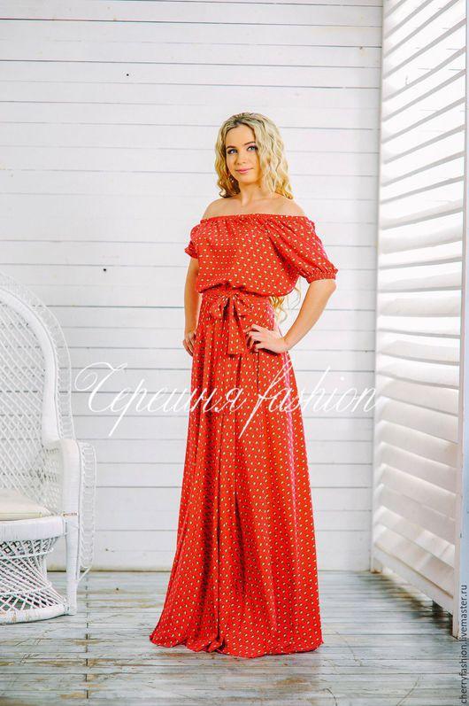 """Платья ручной работы. Ярмарка Мастеров - ручная работа. Купить Платье """"Маруся"""" (фламинго). Handmade. Ярко-красный, красное платье"""