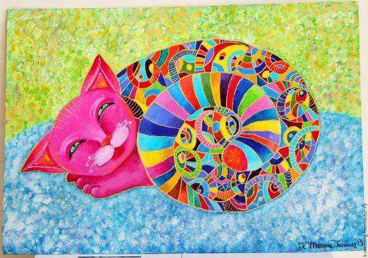 Животные ручной работы. Ярмарка Мастеров - ручная работа. Купить Кот Рафаэль. Handmade. Кот в подарок, картина в подарок