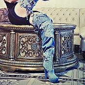 """Обувь ручной работы. Ярмарка Мастеров - ручная работа Ботфорты-трансформеры """"Львица"""" джинсовые на платформе. Handmade."""