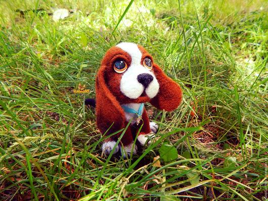 Коллекционные куклы ручной работы. Ярмарка Мастеров - ручная работа. Купить Валяная игрушка собака Бигль. Handmade. Комбинированный, собака
