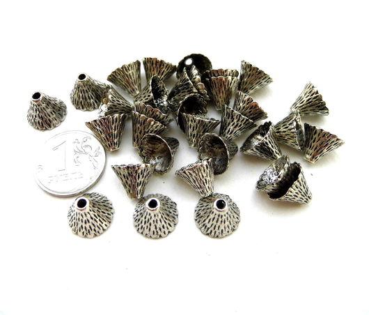 Для украшений ручной работы. Ярмарка Мастеров - ручная работа. Купить Шапочки для бусин 32 штуки серебряный цвет фактурные. Handmade.
