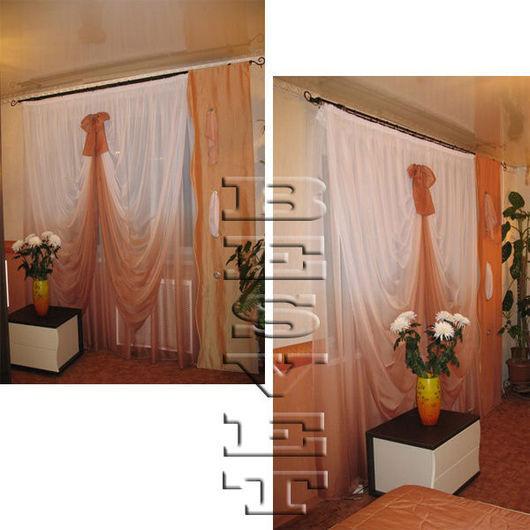 Текстиль, ковры ручной работы. Ярмарка Мастеров - ручная работа. Купить Шторы и покрывало в спальню. Handmade. Оранжевый, карнавал, покрывало