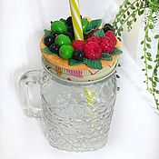 Посуда handmade. Livemaster - original item Delicious jar with a tube for smoothies with a decor made of polymer clay. Handmade.
