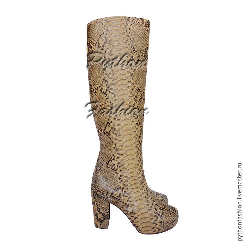 boots Python. Stylish boots made of Python leather on the heel. Fashionable platform boots. Womens boots custom made. High boots made of Python. Beautiful Economie boots with zipper. Womens shoes from