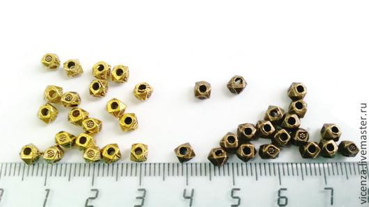 Бусина металлическая многогранная 3 мм. Цвет: бронза, медь, серебро, золото