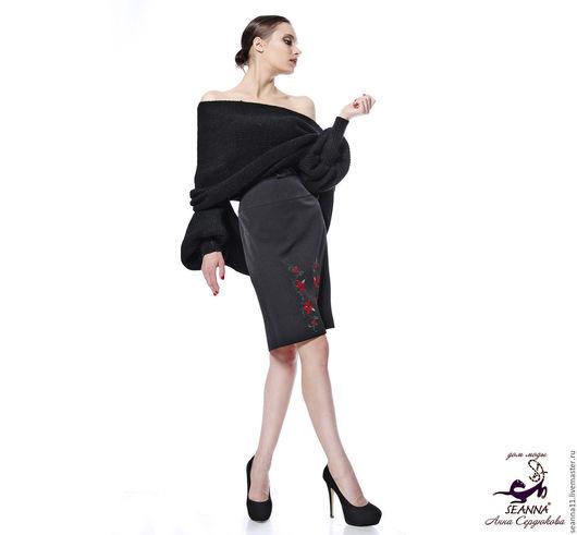 Дизайнер Анна Сердюкова (Дом Моды SEANNA). Вязаный шарф-свитер с рукавами `Тёплый Чёрный`.  Безразмерный.  Цена - 5900 руб.