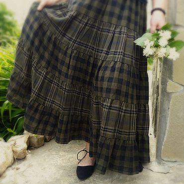 Одежда ручной работы. Ярмарка Мастеров - ручная работа Длинная летняя юбка ярусами из хлопка в клетку. Handmade.