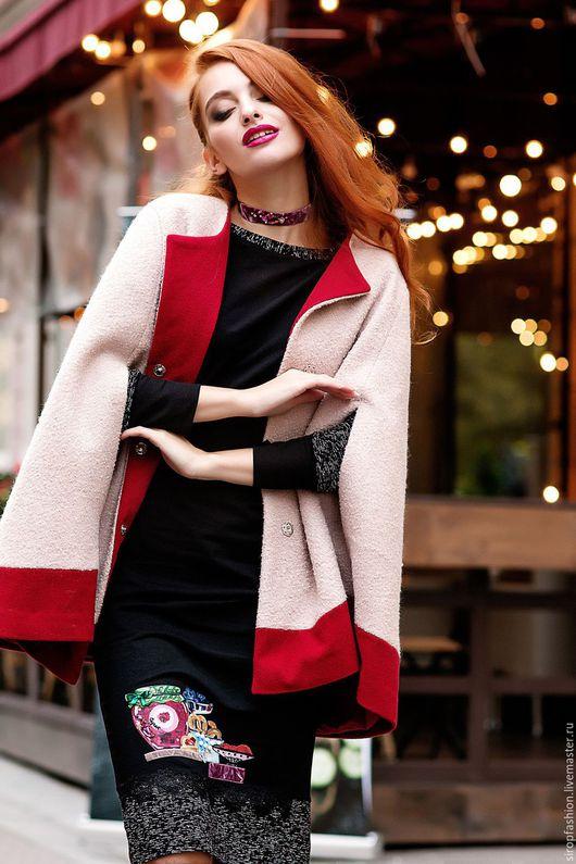 """Верхняя одежда ручной работы. Ярмарка Мастеров - ручная работа. Купить Пальто пончо """"Клубничный штрудель"""". Handmade. Бледно-розовый"""