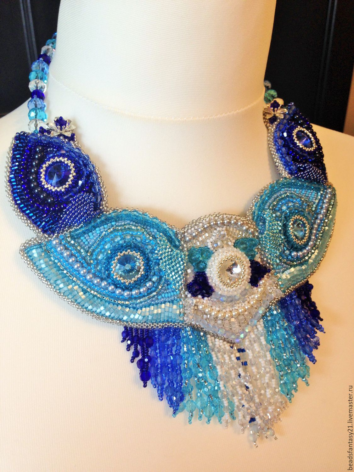 embroidered bead necklace and swаrovski the sky, Necklace, Riga,  Фото №1