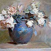 Картины и панно handmade. Livemaster - original item Roses in a blue vase. Handmade.