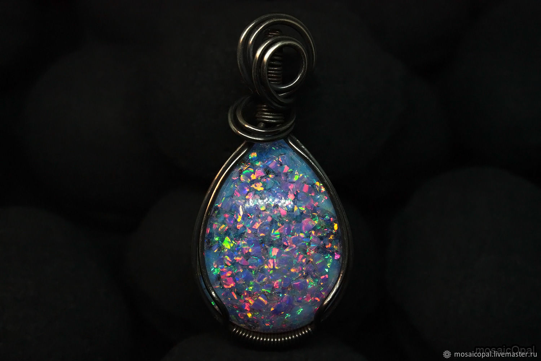 Pendant with pink opal. Light purple opals in glass, Nickel silver, Pendant, Kamensk-Uralsky,  Фото №1