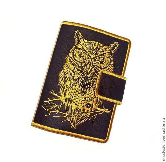 """Обложки ручной работы. Ярмарка Мастеров - ручная работа. Купить Обложка для паспорта """"Сова"""""""". Handmade. Обложка, обложка для документов, черный"""