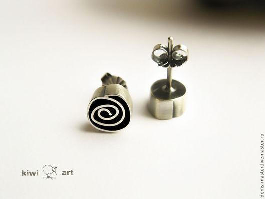 Ярмарка Мастеров, Kiwi Art Studio, серьги из серебра, оригинальные серьги, серьги серебро, серьги из серебра 925, серьги серебро 925, серебряные серьги, серебро серьги, гвоздики