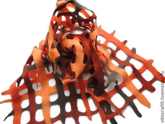 Шарфы и шарфики ручной работы. Ярмарка Мастеров - ручная работа. Купить Валяный шарф. Handmade. Коричневый, терракотовый цвет