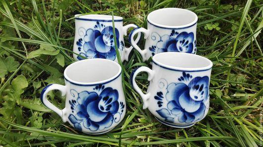 ...яркие, расписные чайные чашки из, традиционно-белейшего гжельского фарфора, производства  прошлых лет, фз.`Электроизолятор`...Гжель...