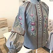 """Одежда handmade. Livemaster - original item Блуза с ручной вышивкой """"Кружевные цветы - в сером"""" вышитая блузка. Handmade."""