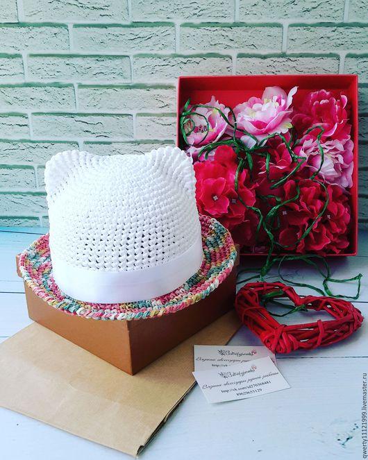 """Шляпы ручной работы. Ярмарка Мастеров - ручная работа. Купить Шляпа с ушками кошки """"Colorful"""" (рафия). Handmade. Белый"""