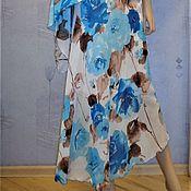 Одежда handmade. Livemaster - original item A-line skirt with asymmetrical hem (turquoise roses). Handmade.