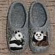"""Обувь ручной работы. Ярмарка Мастеров - ручная работа. Купить Тапочки домашние """"Едоки бамбука"""". Handmade. Тапочки, шерсть"""