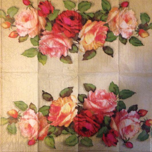 Салфетка для декупажа- винтажная композиция из роз в кракелюре Декупажная радость