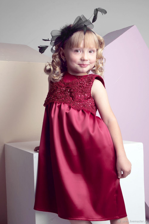 f3abd2e934f4b27 Одежда для девочек, ручной работы. Ярмарка Мастеров - ручная работа. Купить  Бордовое платье ...