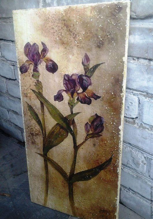 Картины цветов ручной работы. Ярмарка Мастеров - ручная работа. Купить Панно деревянное большое 40х70_Ирисы W0208. Handmade. Комбинированный