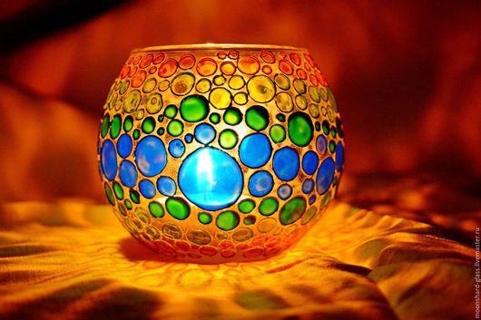 """Подсвечники ручной работы. Ярмарка Мастеров - ручная работа. Купить Подсвечник """"Радужные пузырьки"""", расписан витражными красками. Handmade. Комбинированный"""