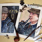 Картины и панно handmade. Livemaster - original item Watercolor painting portrait of TWO HOLMES (2 paintings). Handmade.