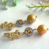 Украшения handmade. Livemaster - original item citrine. gold plated earrings with citrines and gold pearls kasumi.. Handmade.