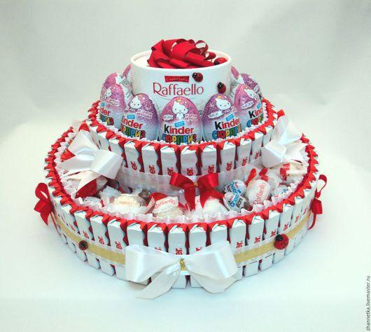 """Букеты ручной работы. Ярмарка Мастеров - ручная работа. Купить Торт """"Изобилие Киндеров"""".. Handmade. Комбинированный, подарок на день рождения"""
