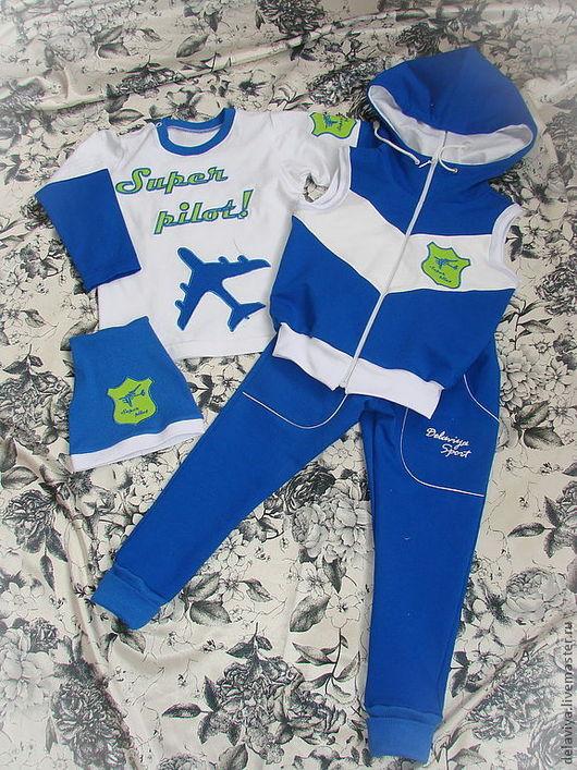 """Одежда для мальчиков, ручной работы. Ярмарка Мастеров - ручная работа. Купить Костюм для мальчика """"Super pilot"""" от Делавьи. Handmade. Синий"""