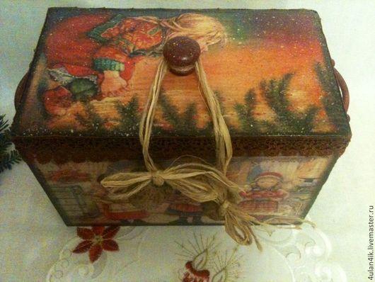 """Корзины, коробы ручной работы. Ярмарка Мастеров - ручная работа. Купить Короб """"Рождественские праздники"""". Handmade. Короб для хранения, подарок"""