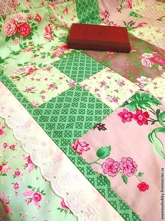 Текстиль, ковры ручной работы. Ярмарка Мастеров - ручная работа. Купить Лоскутный плед Шебби Вечный Прованс. Handmade. Бирюзовый