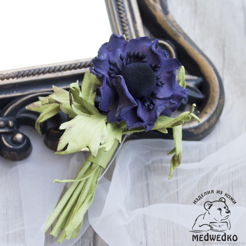 Brooch from skin Anemone violet, Brooches, Vidnoye,  Фото №1