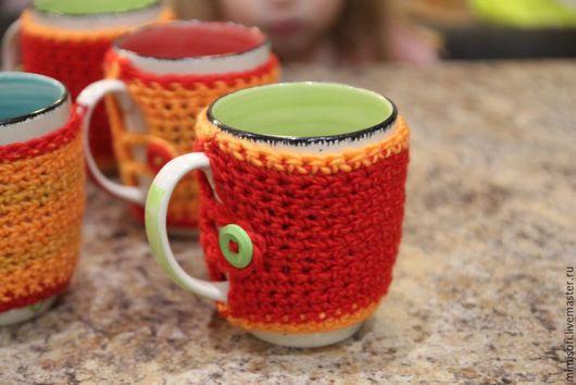 Кухня ручной работы. Ярмарка Мастеров - ручная работа. Купить Кружка в вязаном чехле апельсинового цвета. Handmade. Оранжевый