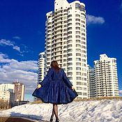 Одежда handmade. Livemaster - original item Coat blue, coat demi-season, coat designer. Handmade.