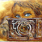 """Картины и панно ручной работы. Ярмарка Мастеров - ручная работа Картина """"Кофейный ретро снимок"""" Коричневый горчичный. Handmade."""