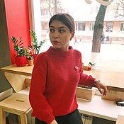 Пуловеры ручной работы. Ярмарка Мастеров - ручная работа Темно-красный пуловер. Handmade.